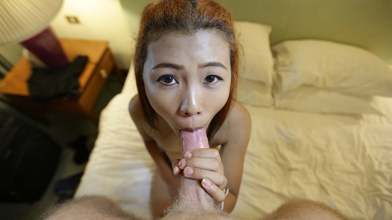 Cute Thai babe in braces and pigtails spoiling white cock